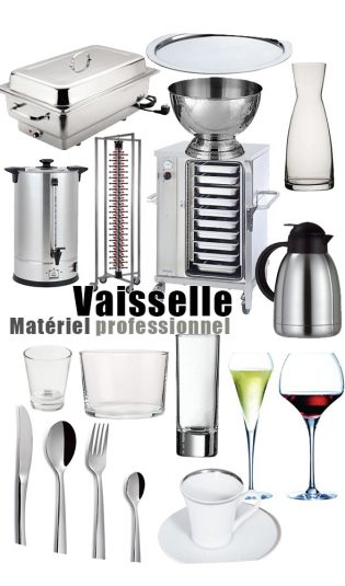 location vaisselle, verrerie, nappage, accessoires buffet, matériel professionnel