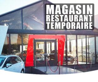 location magasin et restaurant temporaire