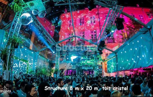 Chapiteau 8mx20m, structure transparente toit cristal