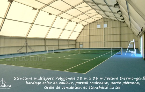17- Structure multisport 18x36m, toiture thermo-gonflée