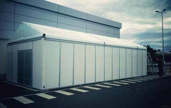 Chapiteau 5mx12m, agrandissement espace de stockage hypermarché
