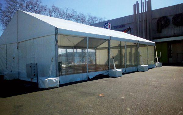 Chapiteau traversant 10mx15m, foire économique parc des expositions