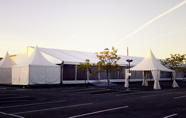 Chapiteau 20mx50m rideaux transparents et garden 5mx5m, journée d'entreprise