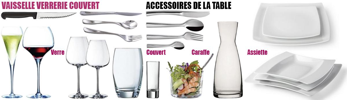 Vaisselle, verrerie, couvert : événement particulier, professionnel, public.