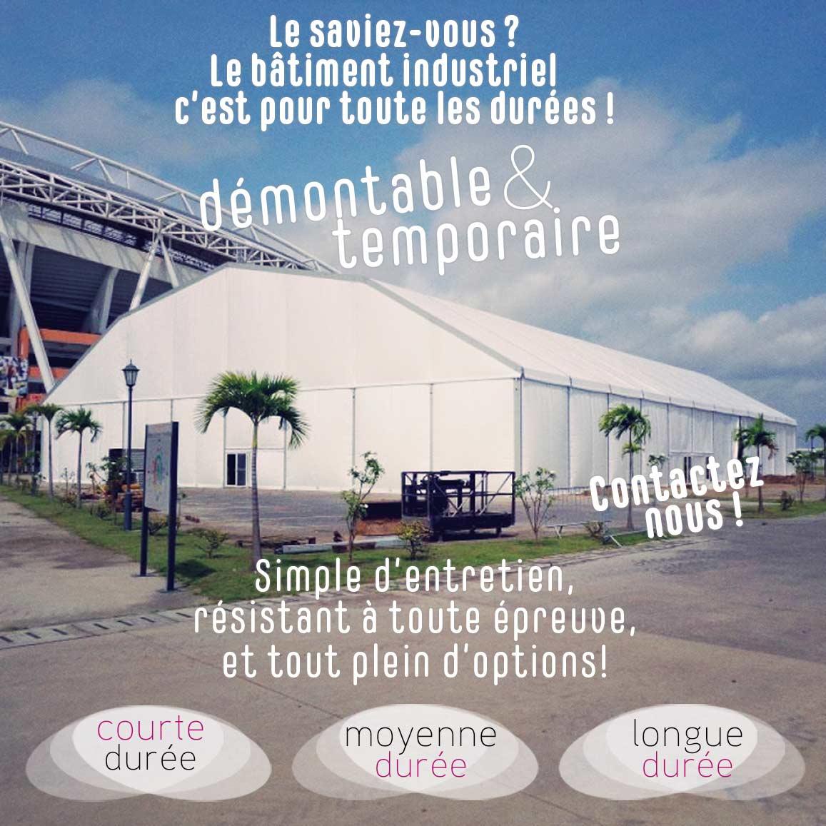 location vente bâtiment industriel démontable sur toute la France avec Structura